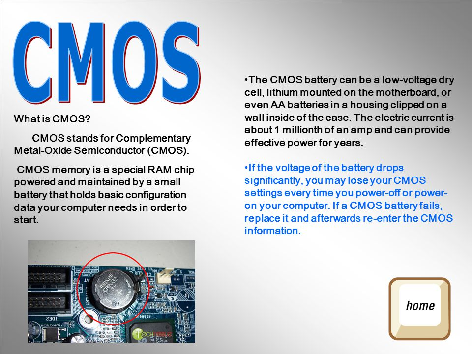 What is the difference between BIOS and CMOS?