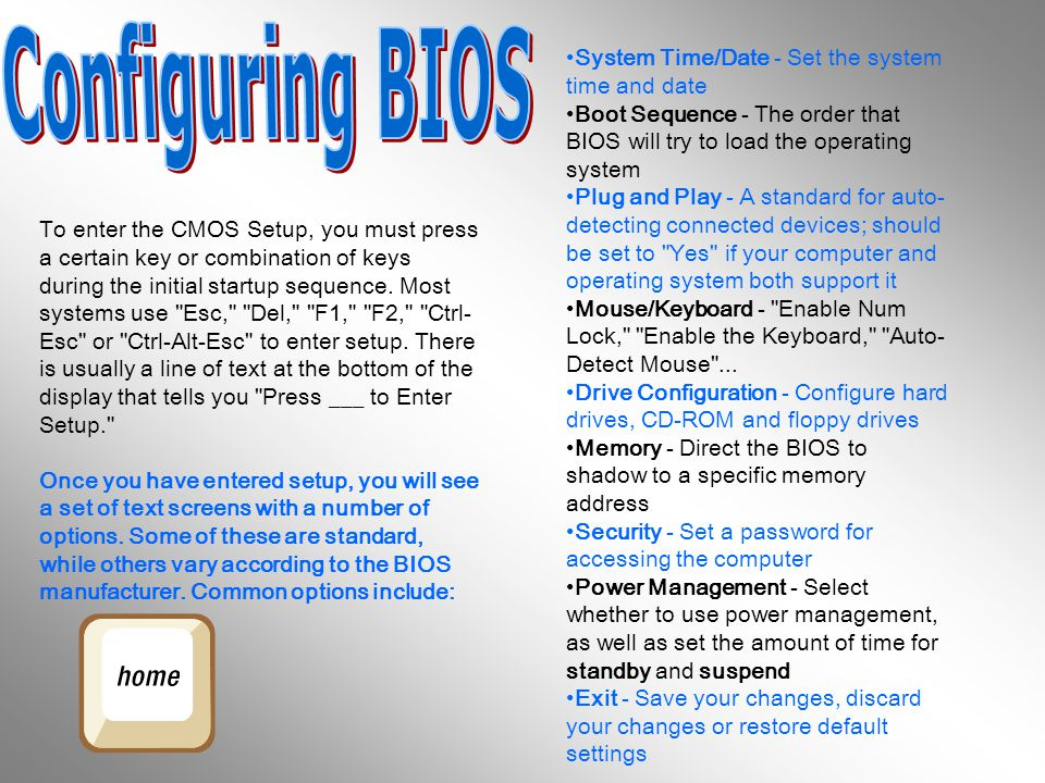 Configuring BIOS System Time/Date - Set the system time and date