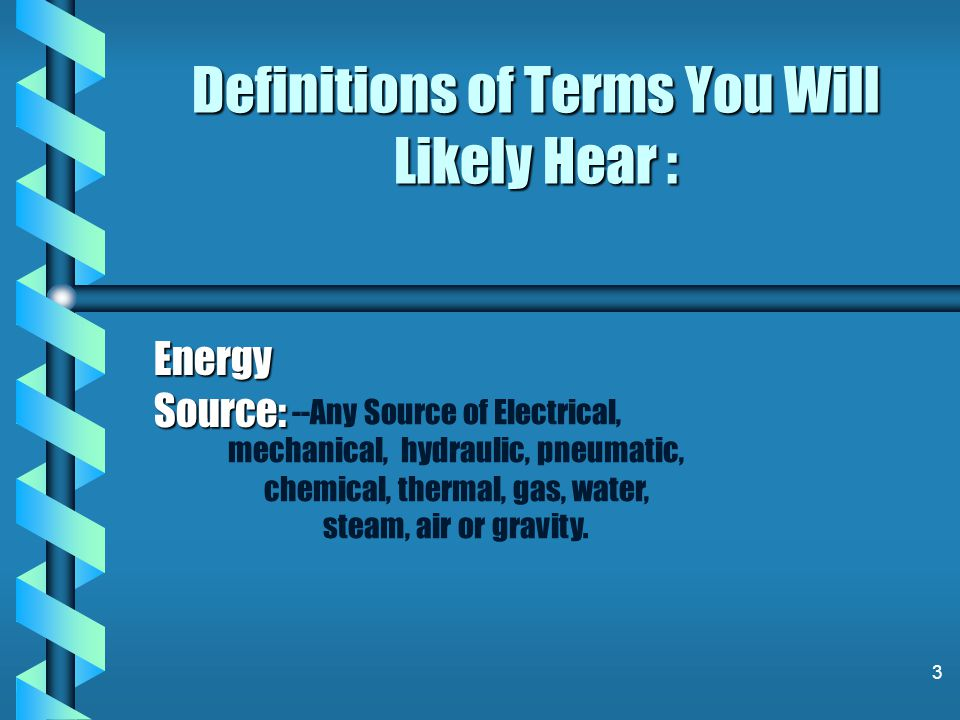 Definitions of Terms You Will Likely Hear :