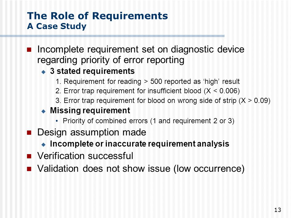 The Role of Requirements A Case Study