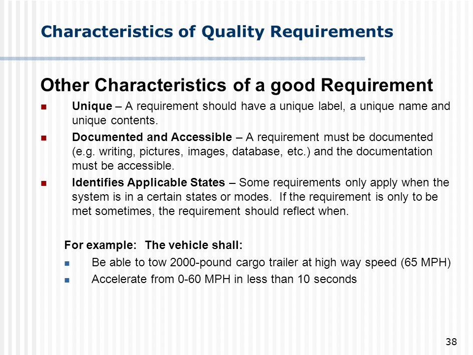 Characteristics of Quality Requirements