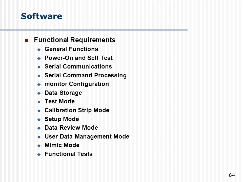 Software Functional Requirements General Functions