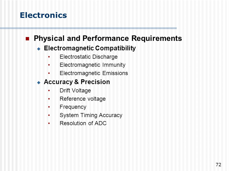 Physical and Performance Requirements