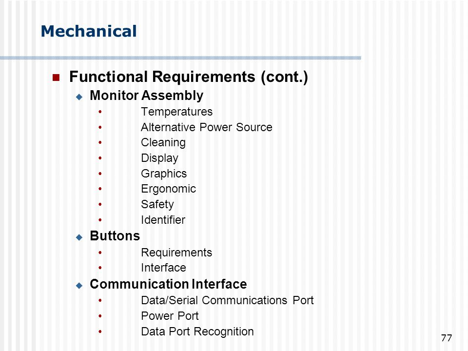 Functional Requirements (cont.)