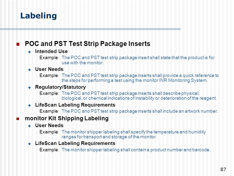 Labeling POC and PST Test Strip Package Inserts