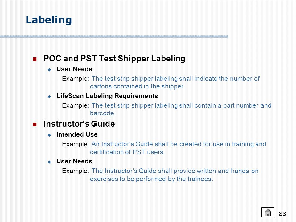 Labeling POC and PST Test Shipper Labeling Instructor's Guide