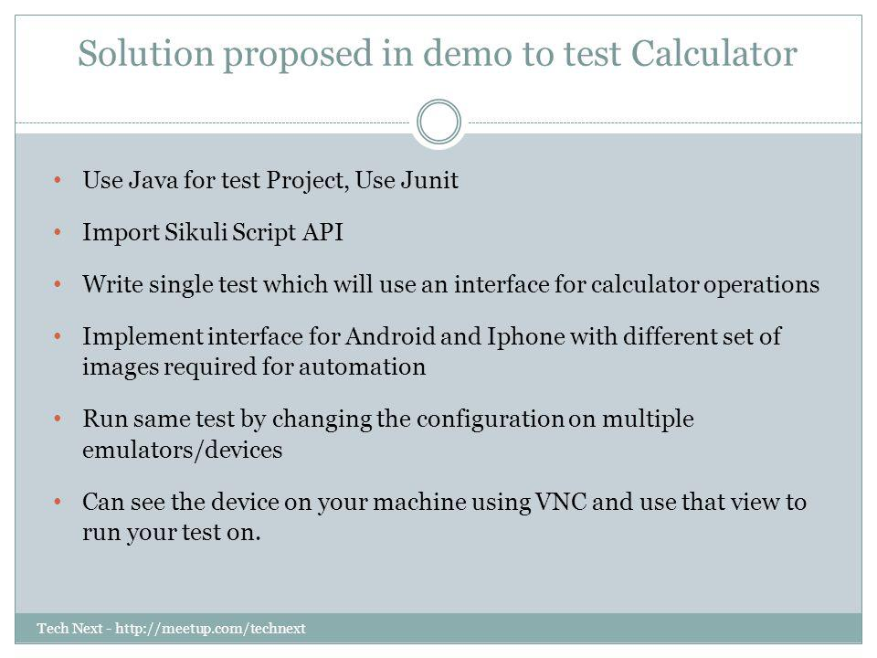 Solution proposed in demo to test Calculator
