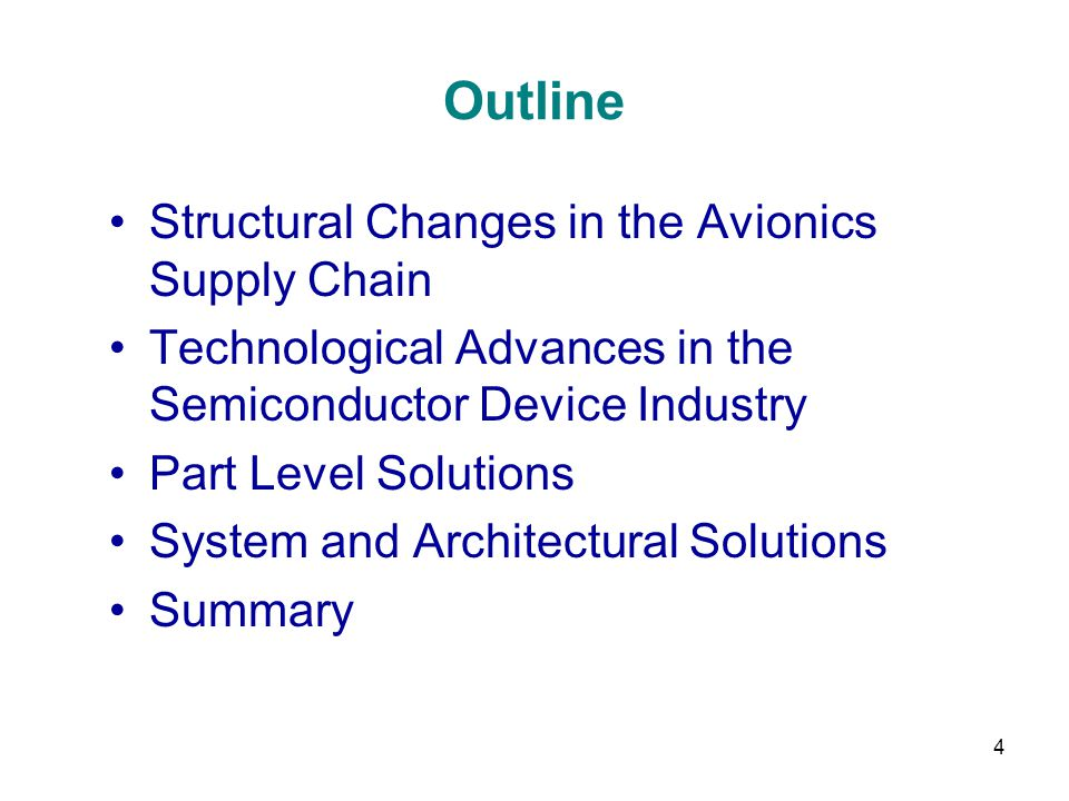 Outline Structural Changes in the Avionics Supply Chain