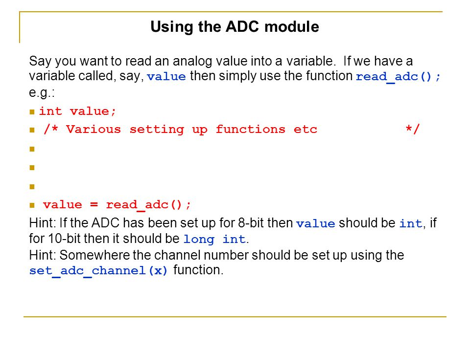 Using the ADC module