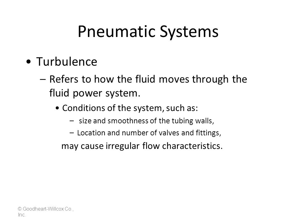 Pneumatic Systems Turbulence