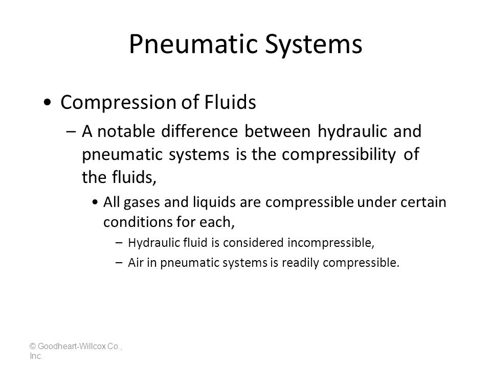 Pneumatic Systems Compression of Fluids