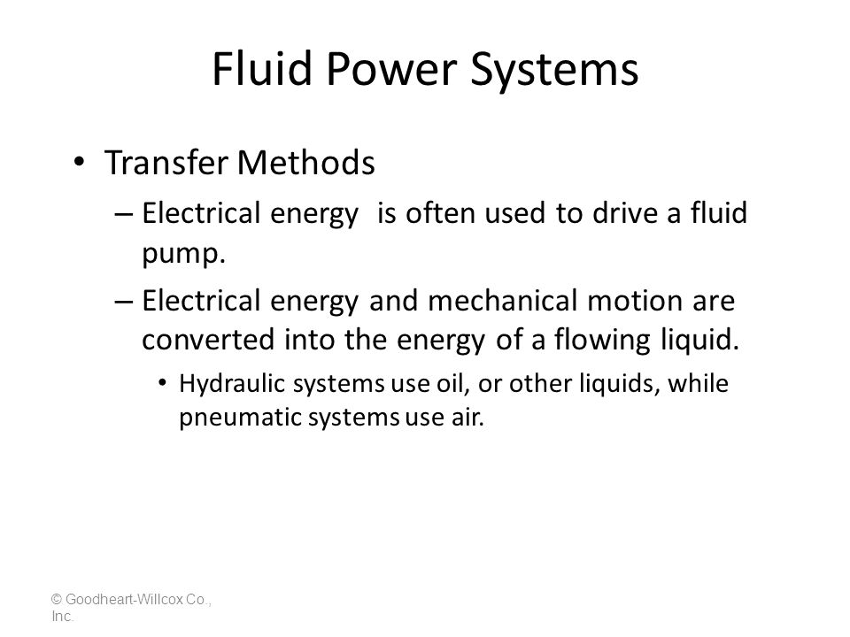 Fluid Power Systems Transfer Methods