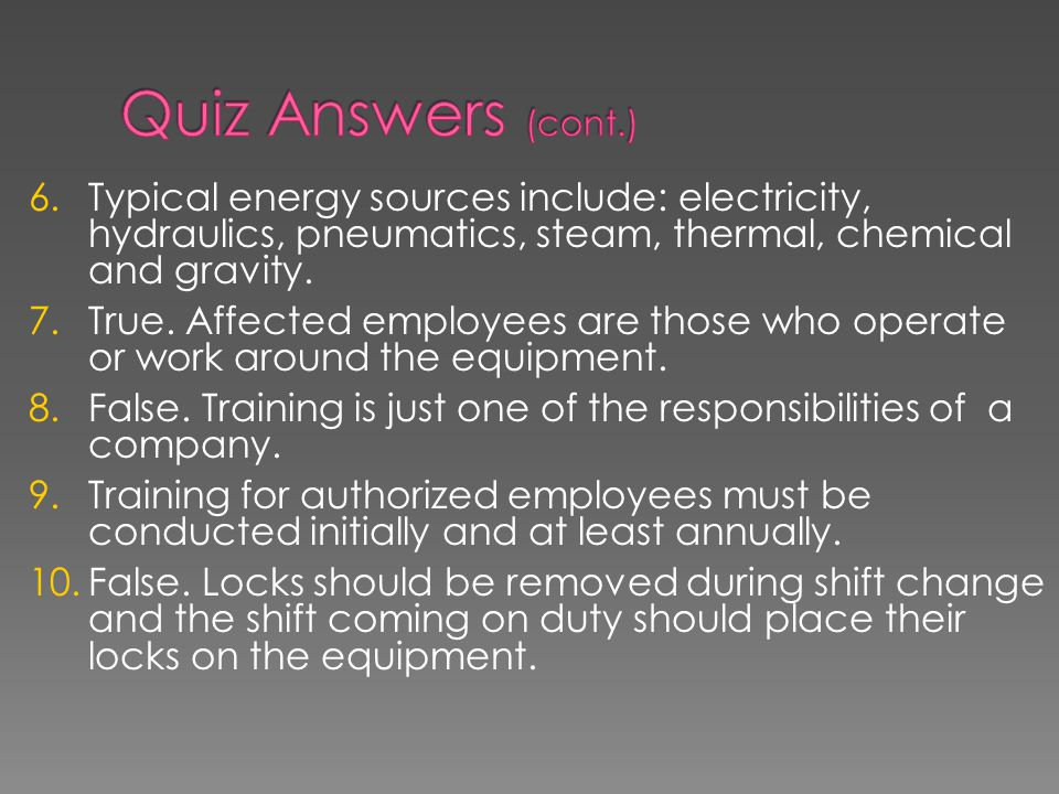 Quiz Answers (cont.)