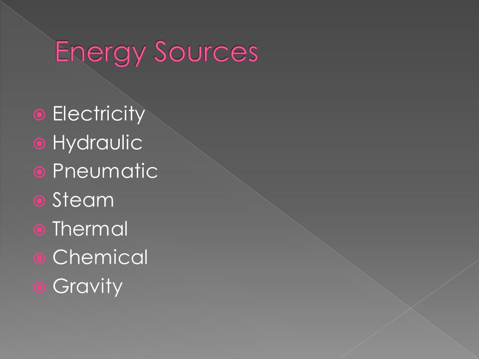 Energy Sources Electricity Hydraulic Pneumatic Steam Thermal Chemical
