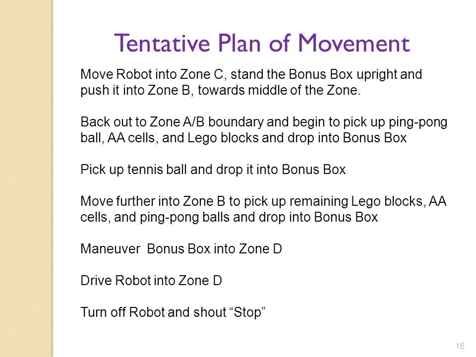 Tentative Plan of Movement