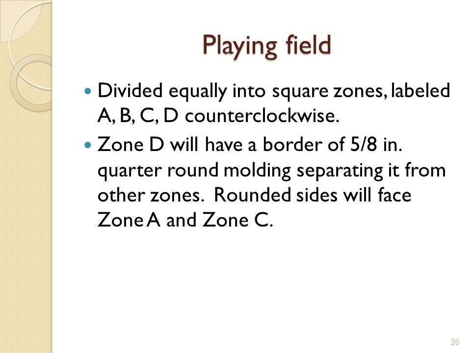 Playing field Divided equally into square zones, labeled A, B, C, D counterclockwise.