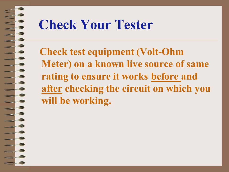 Check Your Tester