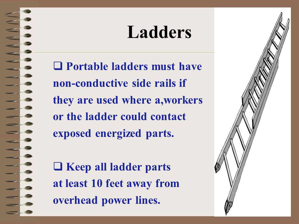 Ladders Portable ladders must have non-conductive side rails if
