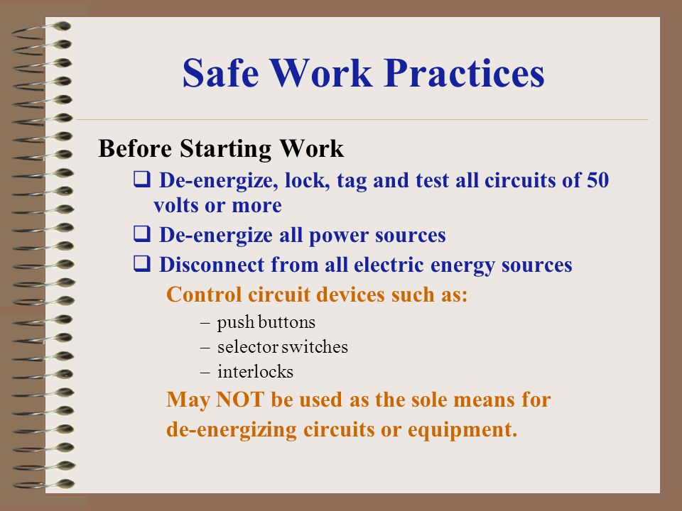 Safe Work Practices Before Starting Work