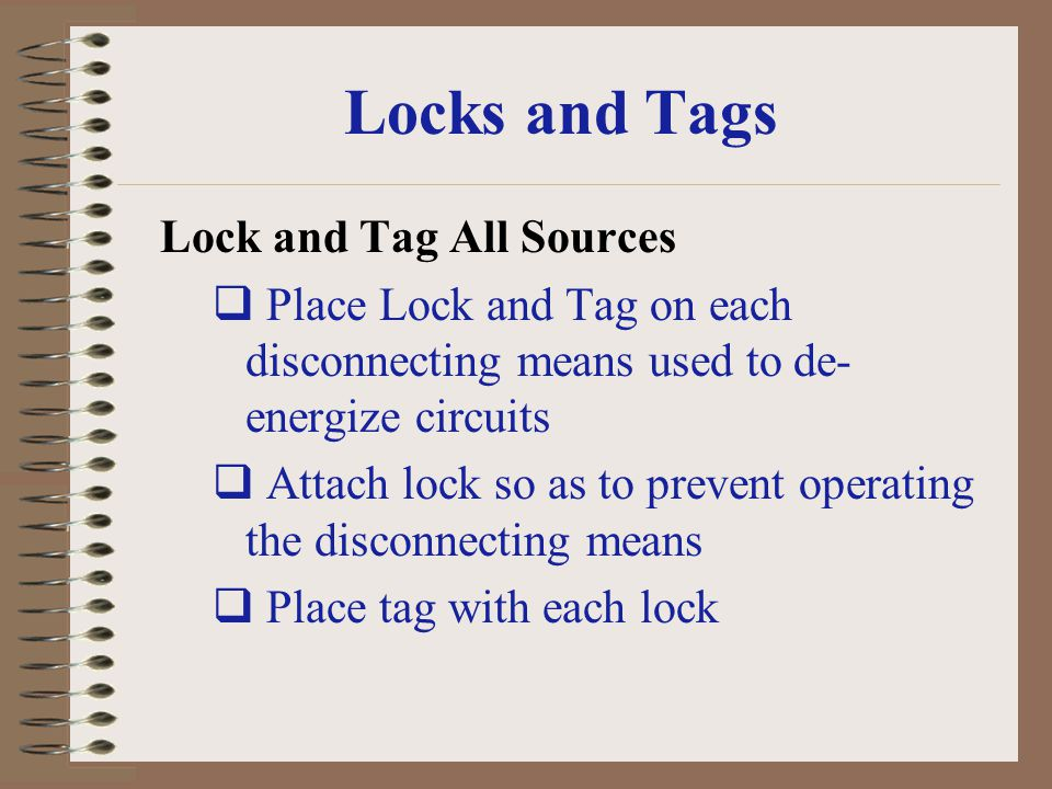 Locks and Tags Lock and Tag All Sources
