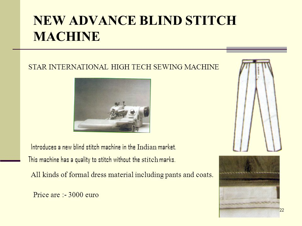NEW ADVANCE BLIND STITCH MACHINE