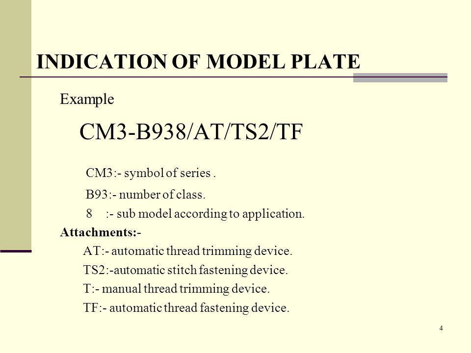 INDICATION OF MODEL PLATE