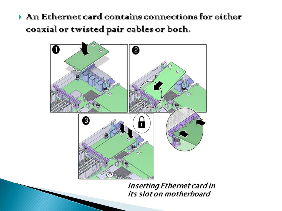 An Ethernet card contains connections for either coaxial or twisted pair cables or both.
