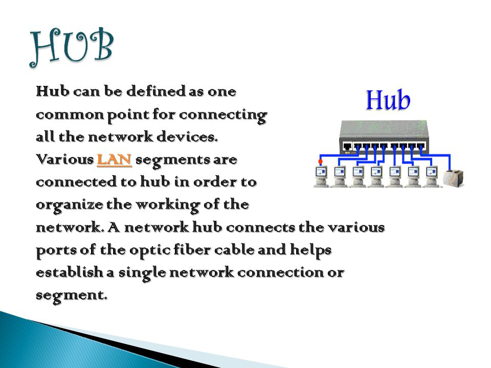 HUB Hub can be defined as one common point for connecting