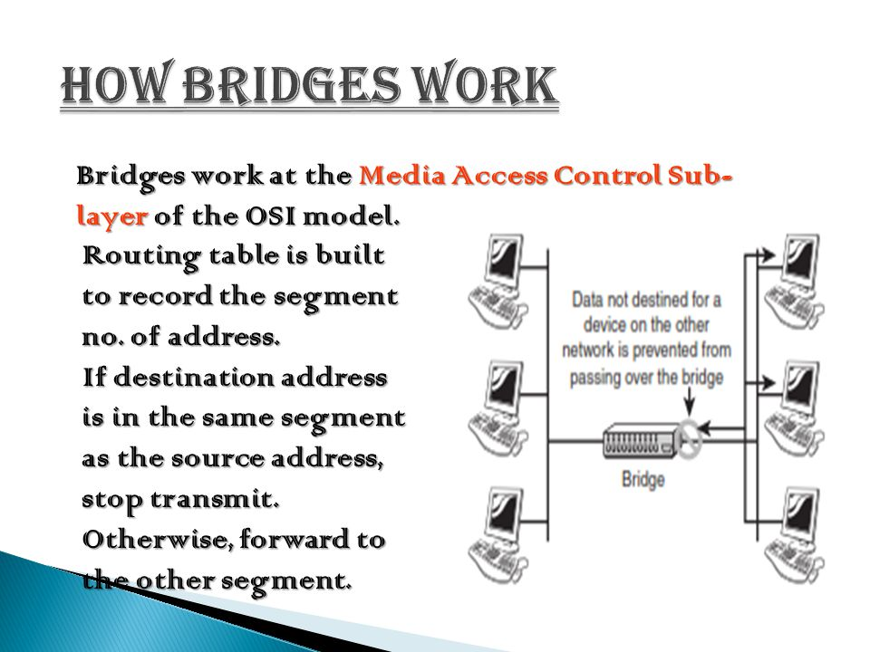 How bridges work Bridges work at the Media Access Control Sub- layer of the OSI model. Routing table is built to record the segment no. of address.