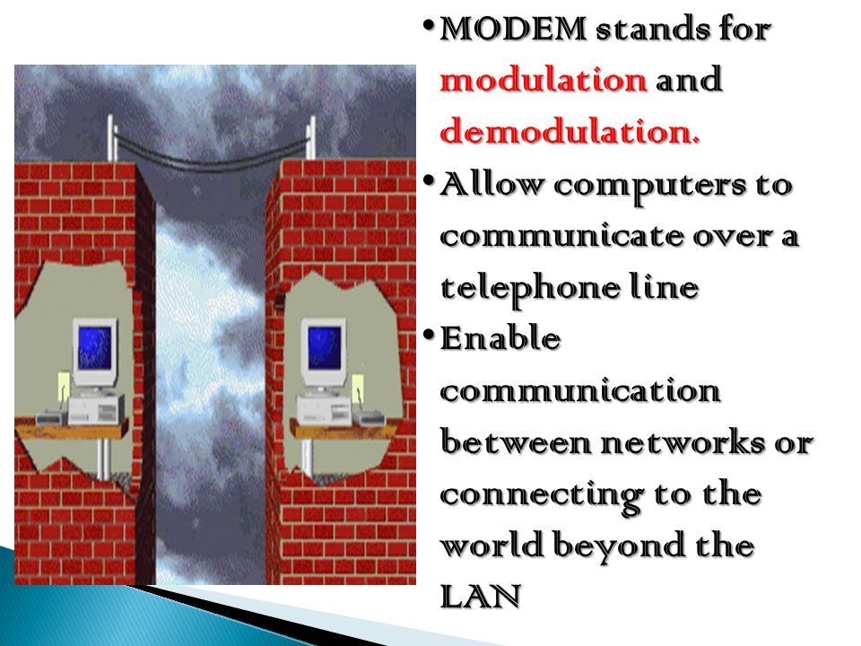 MODEM stands for modulation and demodulation.