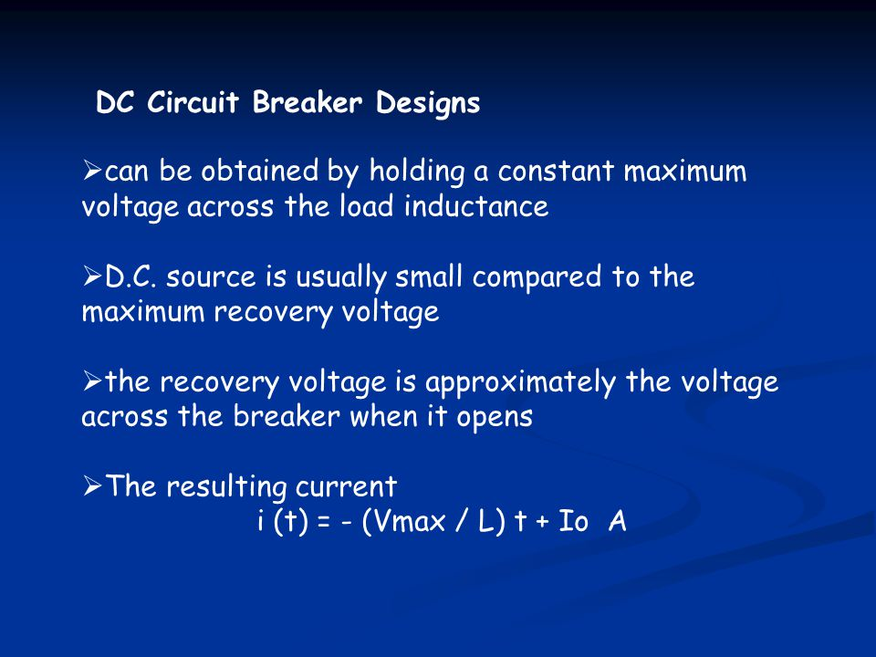 DC Circuit Breaker Designs