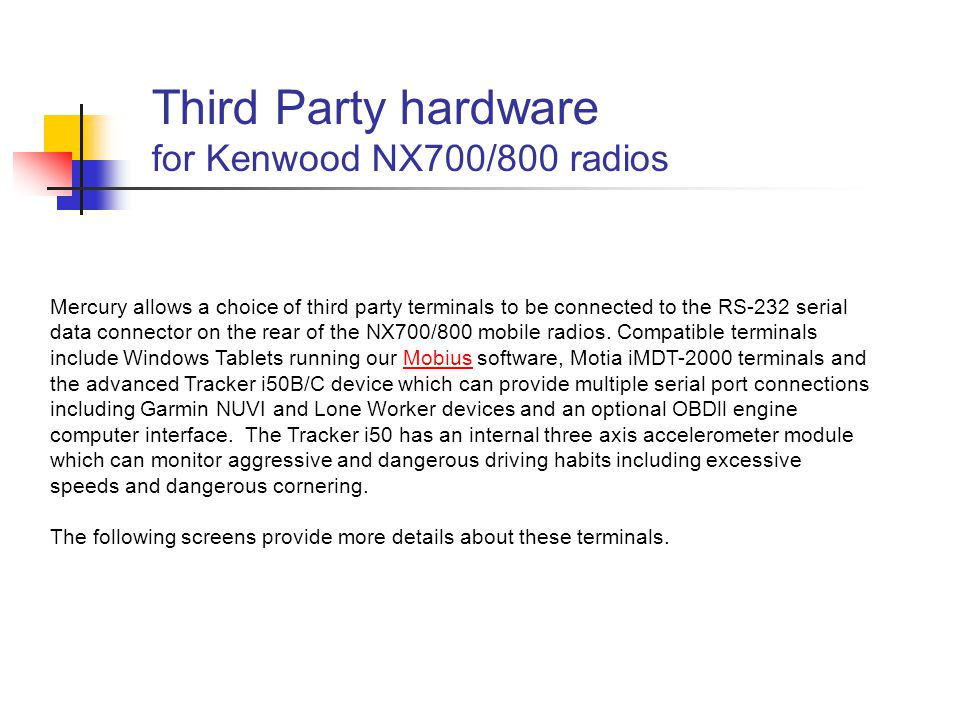 Third Party hardware for Kenwood NX700/800 radios