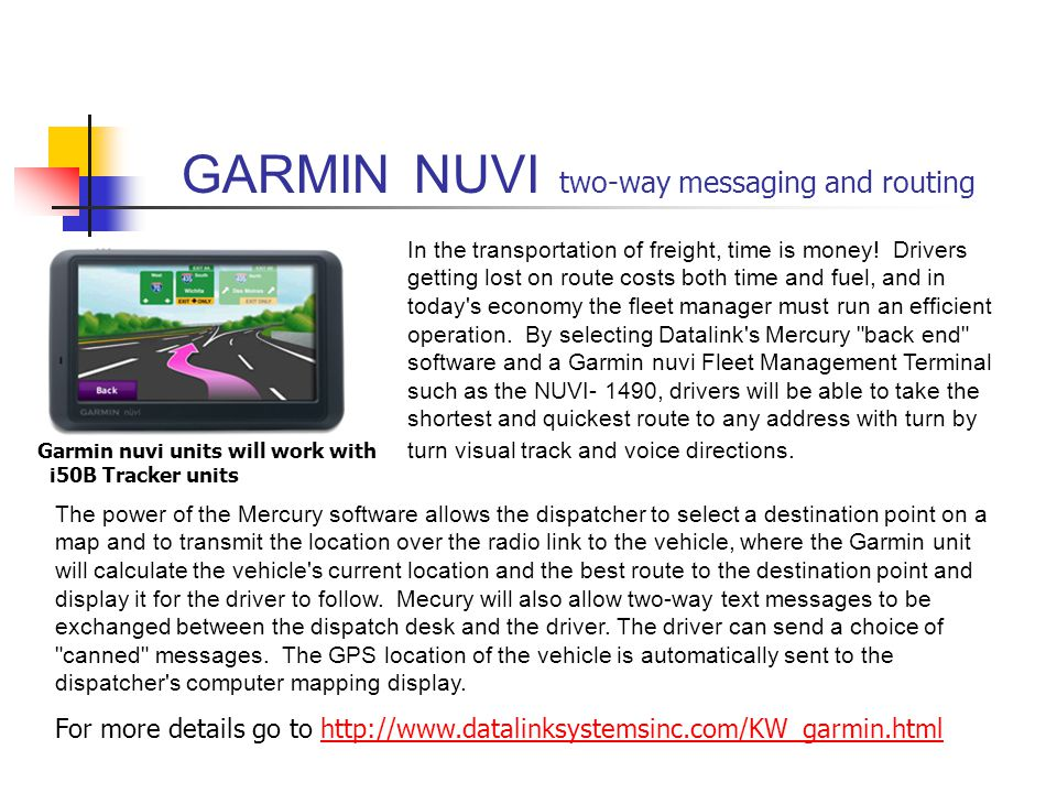 GARMIN NUVI two-way messaging and routing