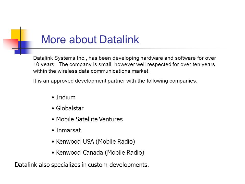 More about Datalink Iridium Globalstar Mobile Satellite Ventures