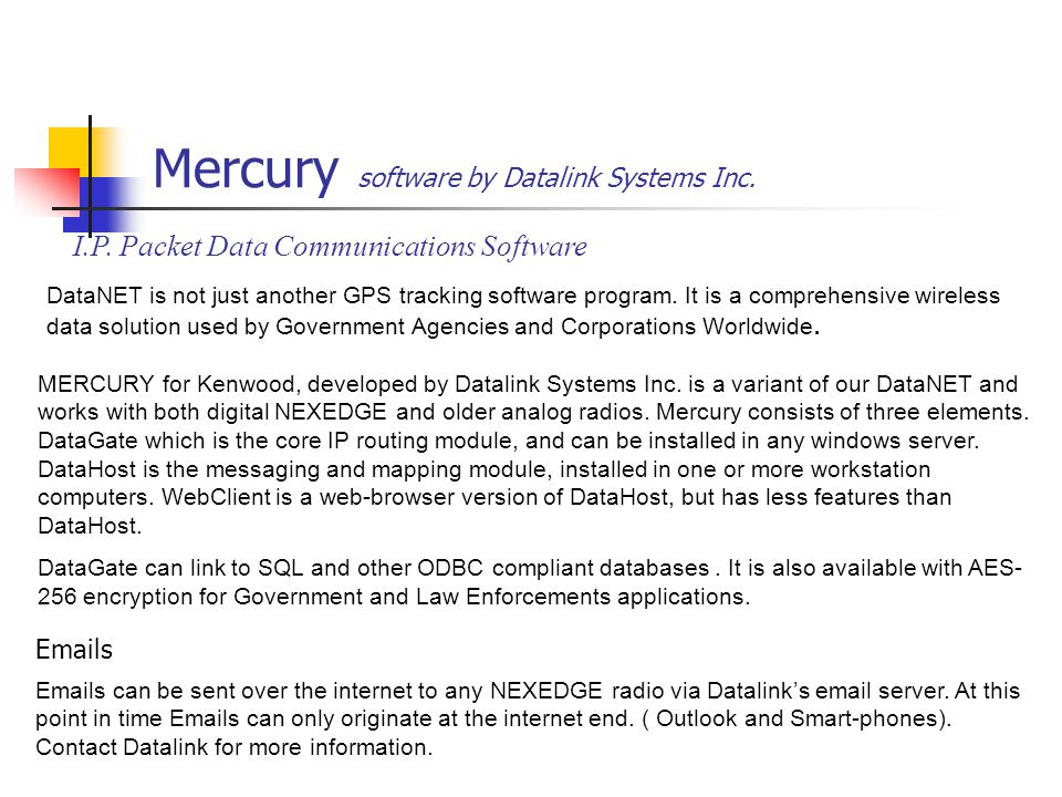 Mercury software by Datalink Systems Inc.