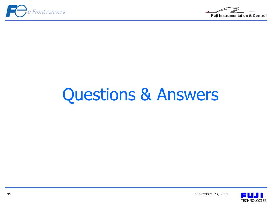 Questions & Answers September 23, 2004