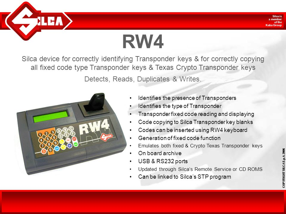 RW4 Silca device for correctly identifying Transponder keys & for correctly copying.