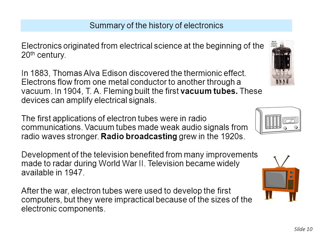Summary of the history of electronics