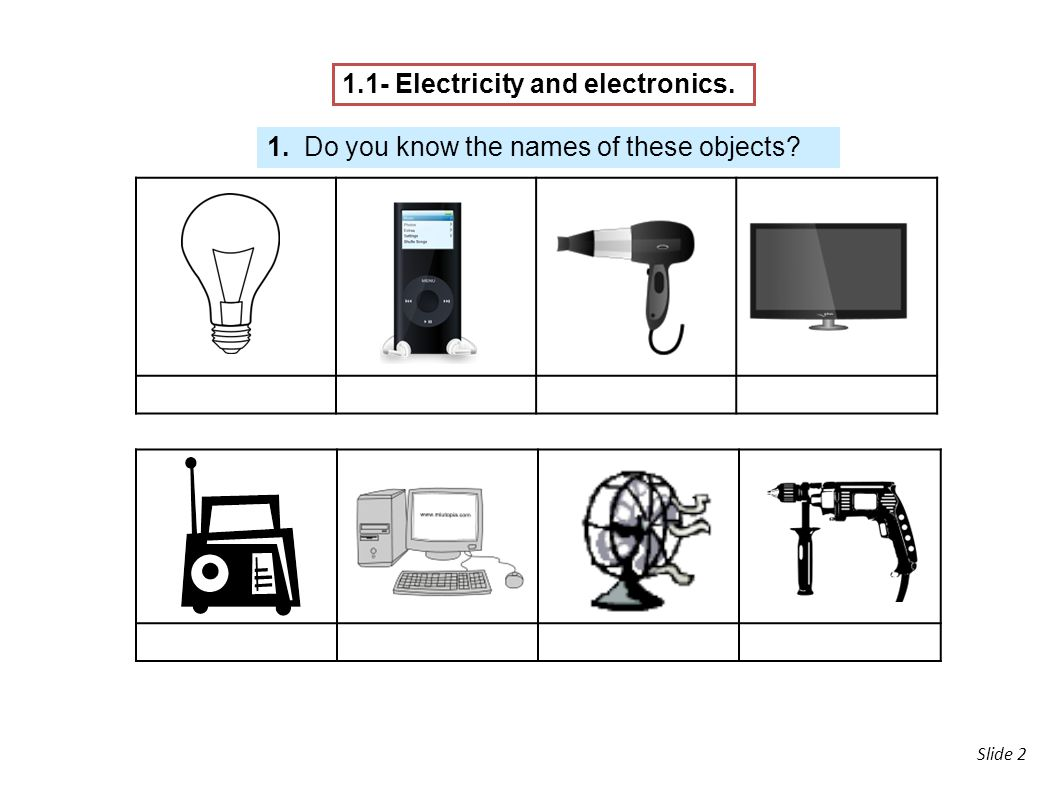 1.1- Electricity and electronics.