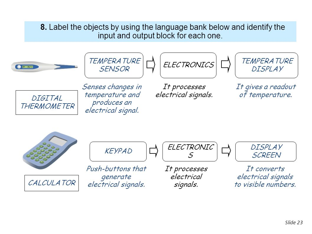 8. Label the objects by using the language bank below and identify the input and output block for each one.