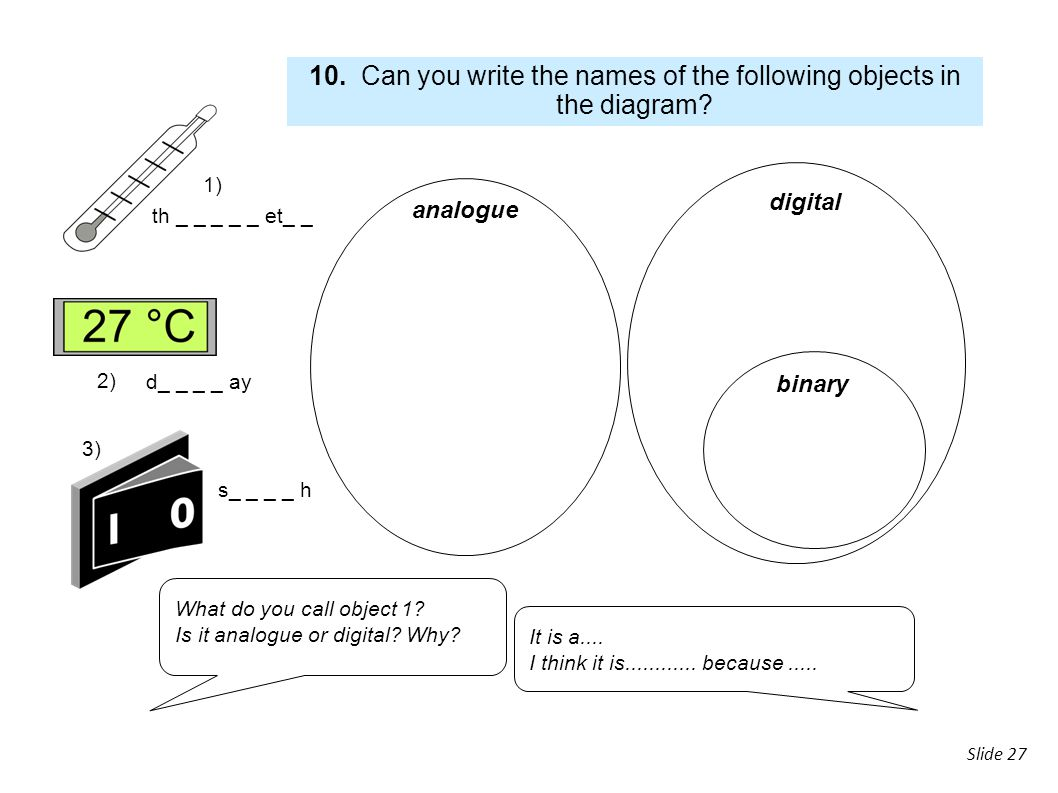 10. Can you write the names of the following objects in the diagram