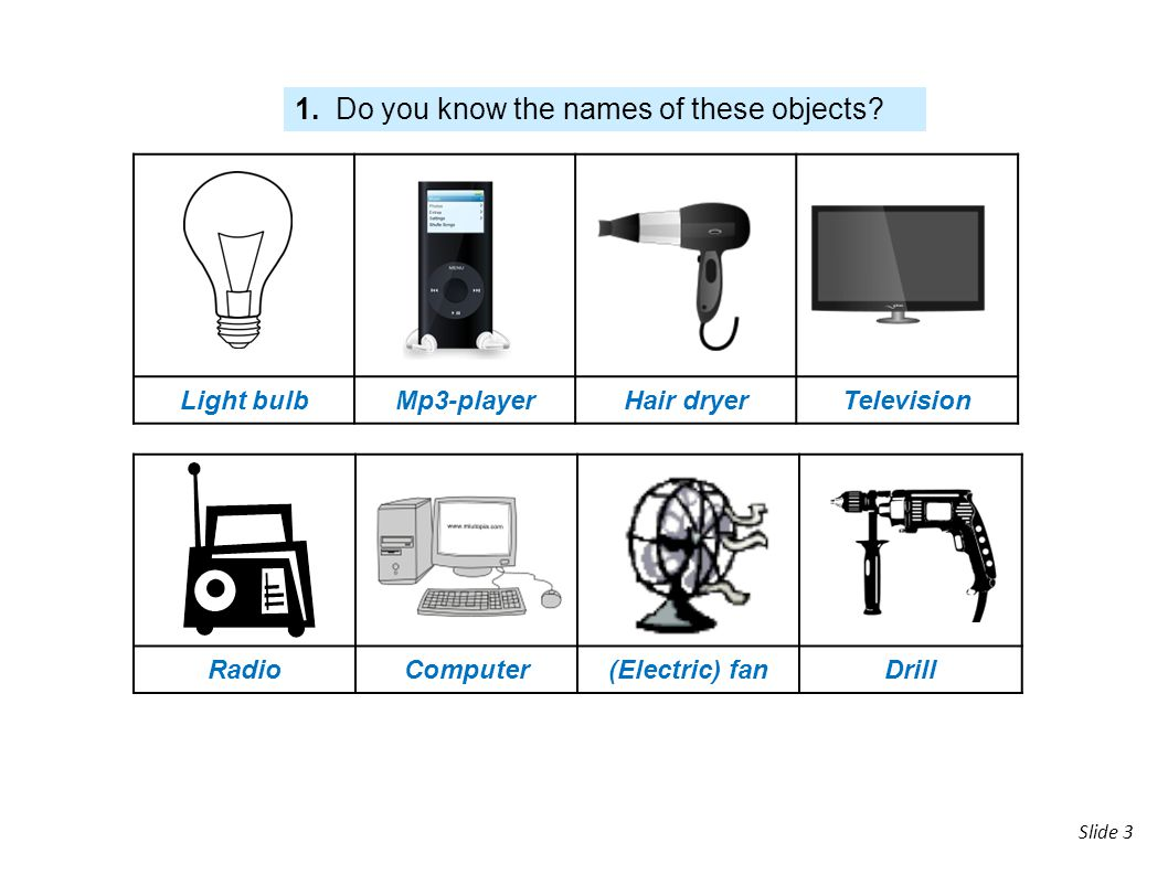 1. Do you know the names of these objects