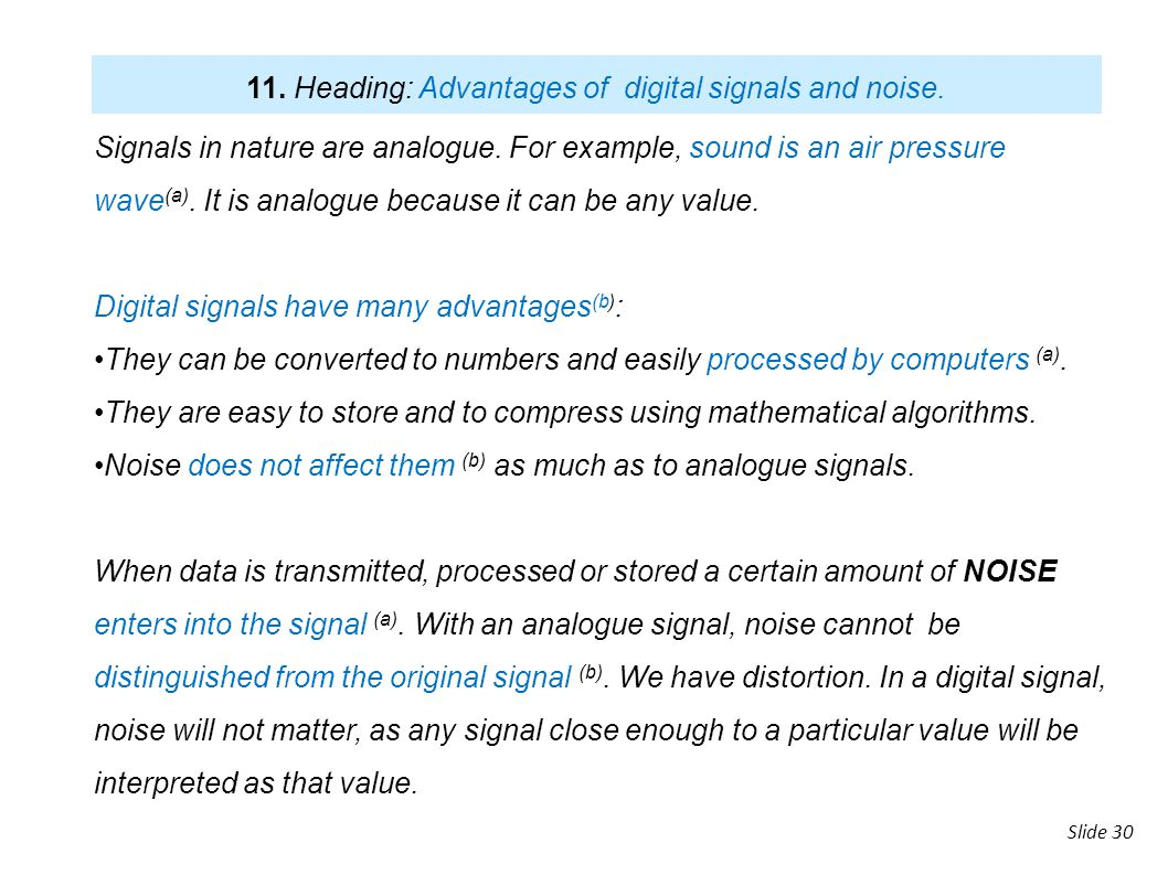 11. Heading: Advantages of digital signals and noise.