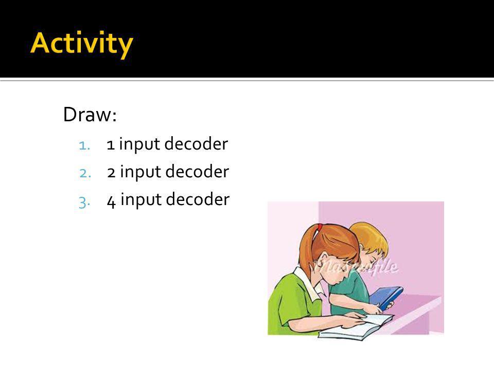 Activity Draw: 1 input decoder 2 input decoder 4 input decoder