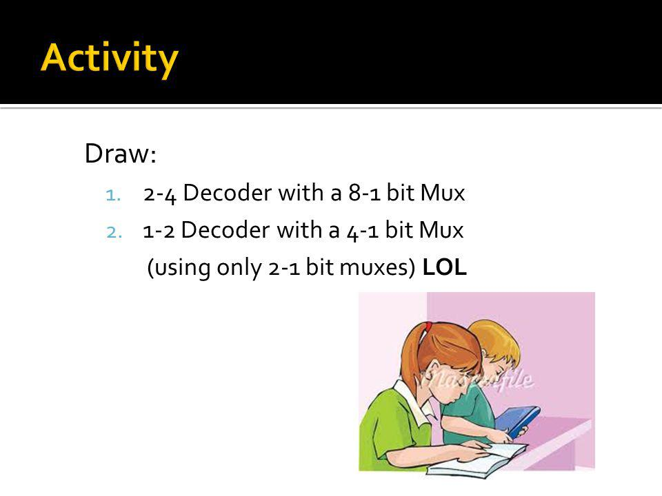 Activity Draw: 2-4 Decoder with a 8-1 bit Mux