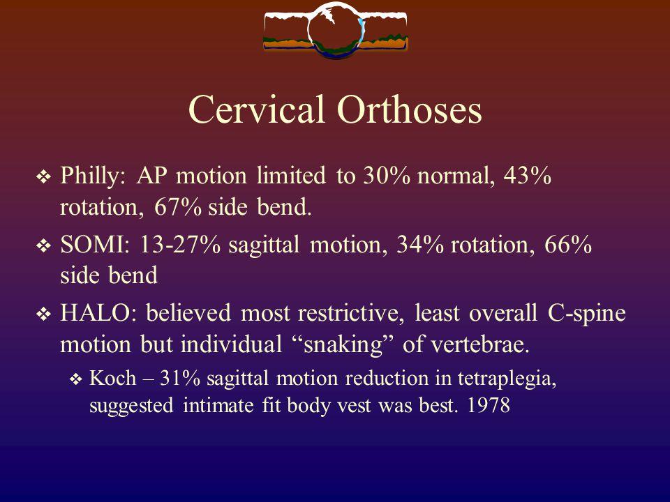 Cervical Orthoses Philly: AP motion limited to 30% normal, 43% rotation, 67% side bend. SOMI: 13-27% sagittal motion, 34% rotation, 66% side bend.