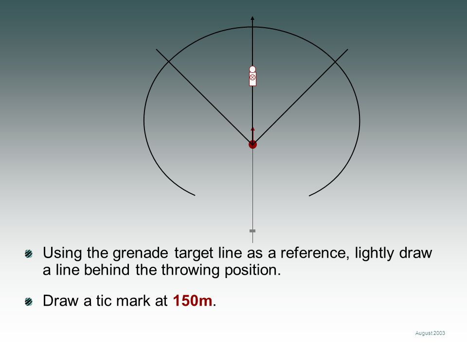 Using the grenade target line as a reference, lightly draw a line behind the throwing position.