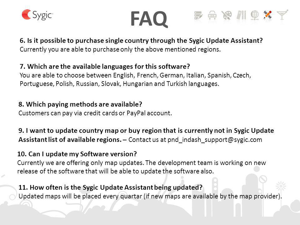FAQ 6. Is it possible to purchase single country through the Sygic Update Assistant