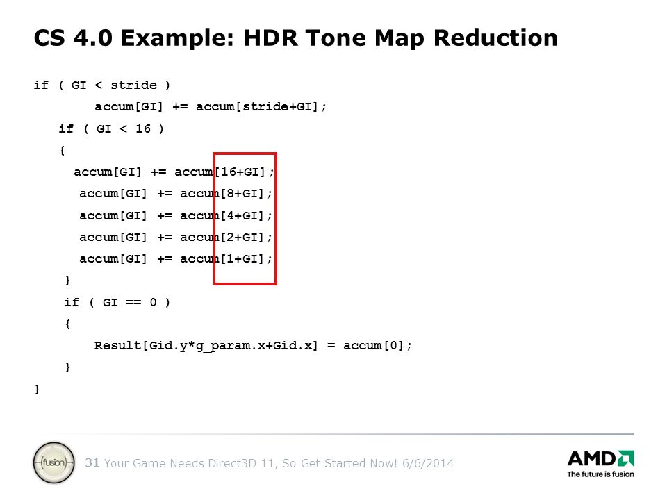 CS 4.0 Example: HDR Tone Map Reduction