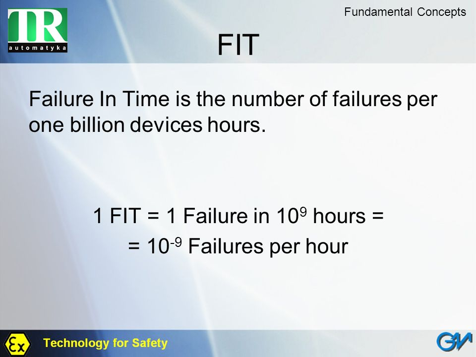 Fundamental Concepts FIT. Failure In Time is the number of failures per one billion devices hours.